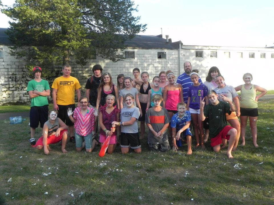 Group picture of youth after shaving cream wiffle ball